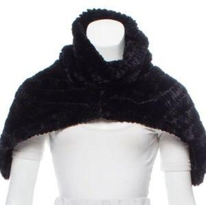 Adrienne Landau Black Faux Fur Cowl Scarf Shrug